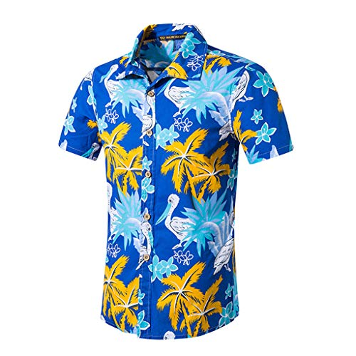 BBesty Men's Fashion Beach Printed Cotton Short Shirt Blue