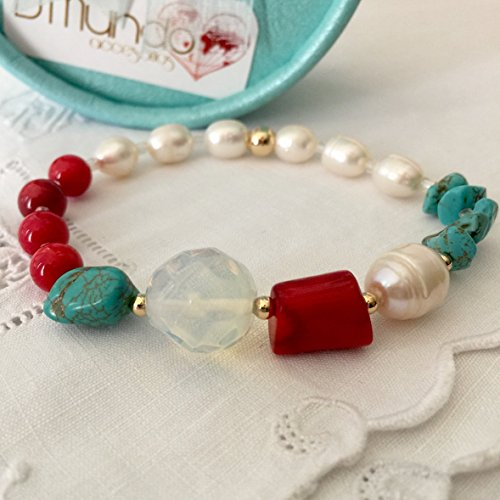 rquoise and Pearl Bracelet. Genuine Gemstones Bracelet by D'Mundo Accesorios. Prosperity, Energy and Happiness Bracelet. Stretch Bracelet. ()