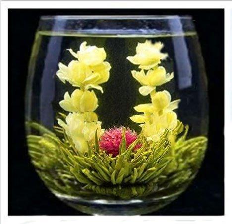 Raw 12 Blooming Green Tea Balls Gift Bag with Globe Amaranth , Jasmine and Calendula Flowers (Jasmine Tea Ball)