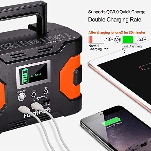 200W Peak Power Station, Flashfish CPAP Battery 166Wh 45000mAh Backup Power Pack 110V 150W Lithium Battery Pack Camping Solar Generator For CPAP Camping Home Emergency Power Supply 51WOgWSnq9L
