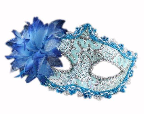 PANDA SUPERSTORE Bradde Chain Lilies Mask Halloween Party Mask Masquerade Mask(Blue)