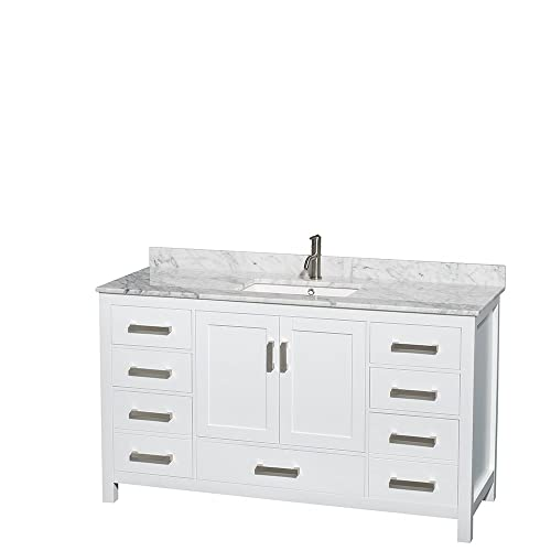 Wyndham Collection Sheffield 60 inch Single Bathroom Vanity in White, White Carrara Marble Countertop, Undermount Square Sink, and No Mirror
