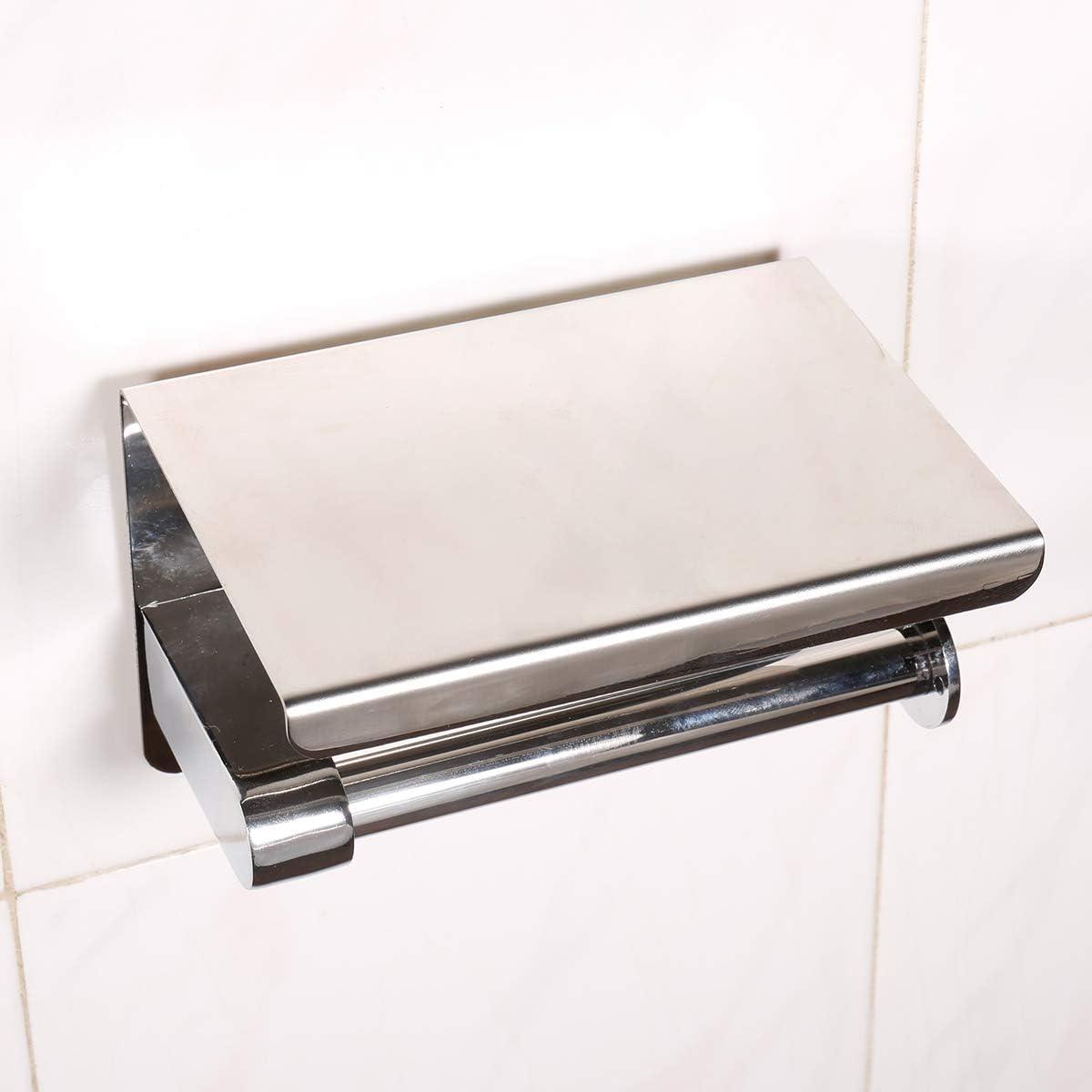 Plata Acero inoxidable SUS304 portarrollos ba/ño adhesivo Plata1 Porta Rollos de Papel Higienico con el Tel/éfono M/óvil Estante de Almacenamiento Portarrollos para Papel Higi/énico
