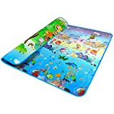 niceEshop(TM) Baby Crawling Game Mat Baby Gym Playmats ,Both Sides (Multicolor)