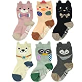 Wrapables Peek A Boo Animal Non-Skid Toddler Socks (Set of 6), Zoo Animals, Large