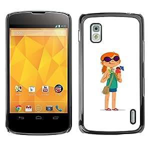 Be Good Phone Accessory // Dura Cáscara cubierta Protectora Caso Carcasa Funda de Protección para LG Google Nexus 4 E960 // Redhead Girl Adventure White Cartoon