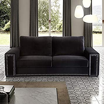 M-030 sofá 3 plazas en Terciopelo Negro Colorado: Amazon.es ...