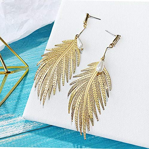 Waldenn 1Pair Metal Leaves Pearl Drop Dangle Boho Women Statement Hook Earrings Jewelry | Model ERRNGS - 9137 |