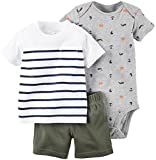 Carter's Baby Boys' Diaper Cover Set Stripe Tee BTM, Olive, 6 Months