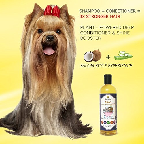 SunGrow Vet Trusted Pet Pet Shampoo Plus Conditioner for Cats/Dogs - 2-in-1 100% Organic, Medicinal - Essential Oil Extracts - Enriched with Aloe Vera/Coconut - 16 oz