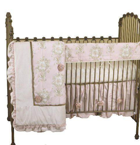 Toile Floral Crib (Cotton Tale Designs Front Crib Rail Cover Up Set, Lollipops & Roses)