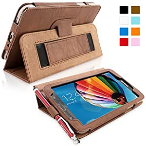 Galaxy Tab 3 8.0 Case, Snugg - Brown Leather Smart Case Cover Samsung Galaxy Tab 3 8.0 Protective Flip Stand Cover with Auto Wake / Sleep