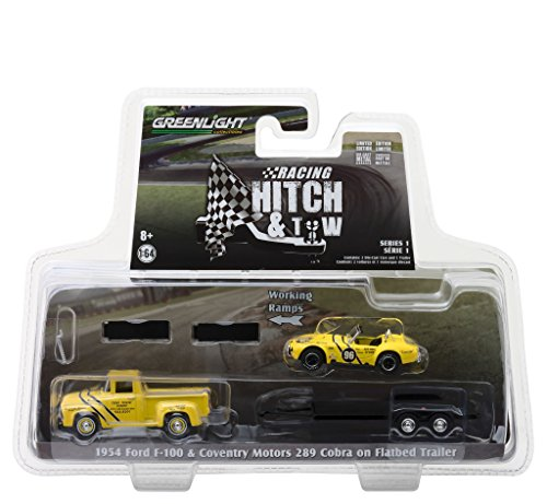Greenlight 31050-A 1:64 Scale Racing Hitch & Tow Series 1 - 1954 Ford F-100 and Coventry Motors 289 Cobra Walnut Creek on Flatbed Trailer