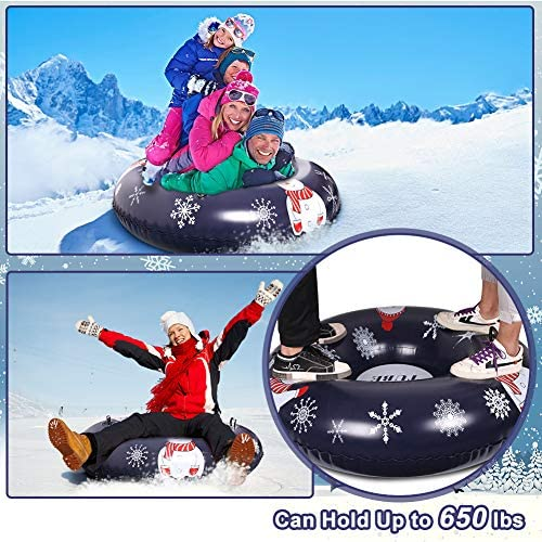 NZQXJXZ Snow Tube, 47 Inch Sledding Tubes for Winter Fun, Heavy Duty Snow Sled Tube for Kids and Adults, Thicker Material Snow Sledding, Inflatable Snow Tubes