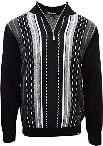 STACY ADAMS Men's Sweater, Vertical Dotted Line (XXL, Black) (Best Shipping Rates For Small Business)
