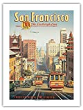San Francisco - The Lindbergh Line - TWA - Vintage Style Airline Travel Poster by Kerne Erickson - Premium 290gsm Giclée Art Print - 18in x 24in