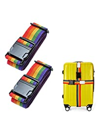 """2x Adjustable 2M 78"""" Long Travel Luggage Strap Packing Belt Suitcase Bag Security Straps with Clip, Colorized"""