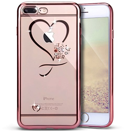 Heart Mini Roses (iPhone 8 Plus Case,iPhone 7 Plus Case,PHEZEN Clear Soft TPU Case with Mini Love Heart Bling Crystal Rhinestone Diamonds Plating Rose Gold Frame Silicone Gel Back Case for iPhone 7 Plus, Love Heart)
