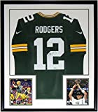 Aaron Rodgers Signed Nike Green Bay Packers Jersey - Fanatics COA Authenticated - Custom Framed & 2 Super Bowl 8x10 Photo 34x42