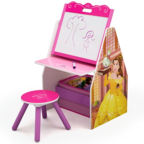 Delta Children Activity Center with Easel Desk, Stool, Toy Organizer, Disney Princess (Princess Art Disney Desk)