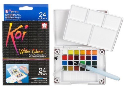 Sakura 24-Colors/set Assorted Watercolors Field Sketch Set with Brush -