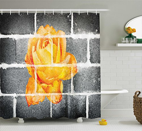 Rustic Flower Decor Shower Curtain by Ambesonne, Trippy Modern Graffiti with Rose Petals on Brick Wall Urban City Life, Fabric Bathroom Decor Set with Hooks, 70 Inches, Grey Orange