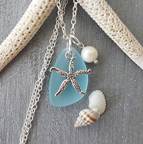 (Handmade in Hawaii, turquoise bay blue sea glass necklace,starfish charm,freshwater pearl,