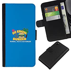 LECELL--Cuero de la tarjeta la carpeta del tirón Smartphone Slots Protección Holder For Sony Xperia Z3 D6603 -- Kahuna Hamburguesa Sabrosa --