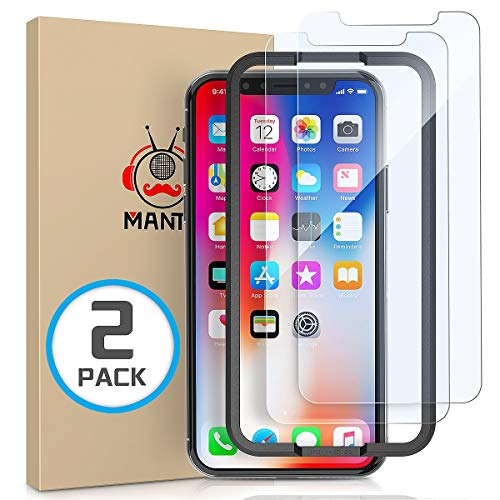 ([2-Pack] MANTO Screen Protector Compatible with iPhone Xs X 5.8 Inch Tempered Glass Clear Shatter-Proof, Bubble-Free, 3D-Touch, Case-Friendly, Easy-Install)