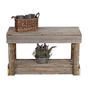 del Hutson Designs Rustic Barnwood Bench w/Shelf, Reclaimed Wood (Natural)