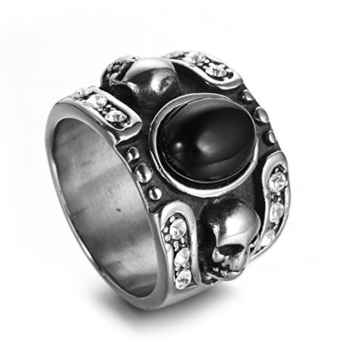 - Aokarry Men's Stainless Steel Bands Ring Black Onxy Skull Engraved White CZ Vintage Black Silver Size 10