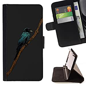 For Sony Xperia M2 Case , Pintura de Aves minimalista- la tarjeta de Crédito Slots PU Funda de cuero Monedero caso cubierta de piel