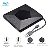External 4K 3D Blu Ray DVD Drive Burner, Wihool Ultra Slim USB 3.0 and Type-C Blu Ray BD CD DVD Burner Player Writer Reader Disk for Mac OS, Windows xp/7/8/10,Linxus, Laptop PC (Black)