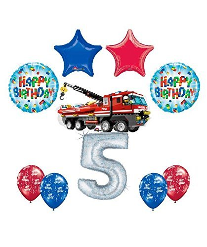 Anagram 10 pc Lego City Fire Engine Firetruck 5th Birthday Party Balloon Decorating Supply Kit