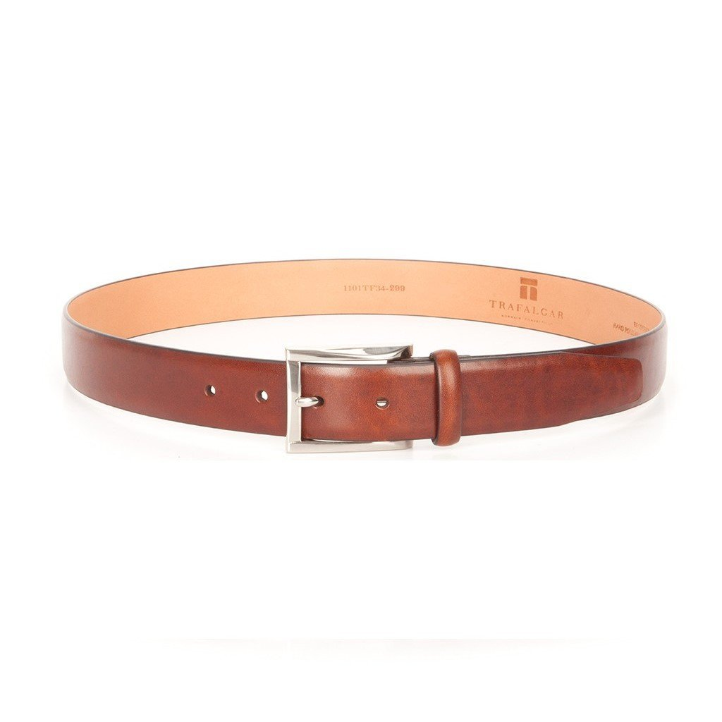Trafalgar Men's Broderick Cortina Leather Skinny Dress Belt, Honey Maple Brown, 34