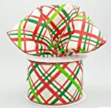 Metallic White Canvas Wired Ribbon with Holiday Crosshatch Plaid: Red Emerald and Lime Green 2.5'' X 10 Yards