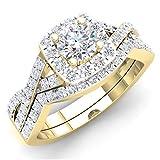 1.80 Carat (ctw) 10K Yellow Gold Round Cubic Zirconia CZ Bridal Halo Engagement Ring Set (Size 8.5)