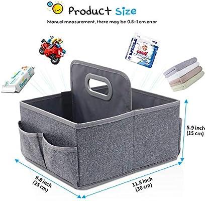 de QICI gris cesta para art/ículos de beb/é para regalo de reci/én nacido Organizador de pa/ñales de beb/é y de juguetes de viaje