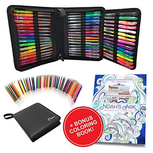 myPALETTEUS 96 Color Gel Pens for Adult Coloring Books- Ink Gel Pens Set with UPGRAGED Case Includes 48 Artist Coloring Pens: 24 Glitter 12 Metallic 12 Neon Plus 48 Refills Bonus Adult Coloring Book