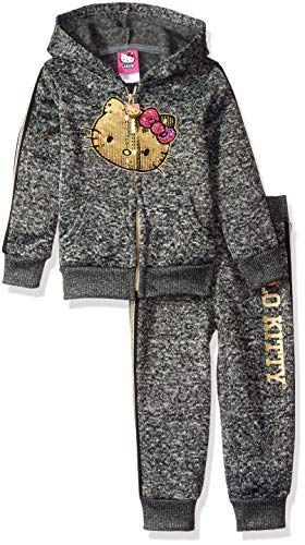 Hello Kitty Toddler Girls 2 Piece Hooded Fleece Active Set, Charcoal Black, 2T