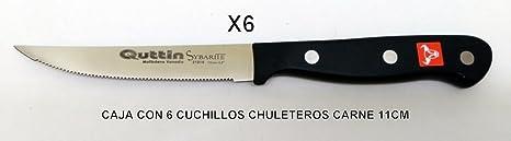 6 CUCHILLOS CHULETEROS SIERRA PARA CARNE QUTTIN SYBARITE 11Cm