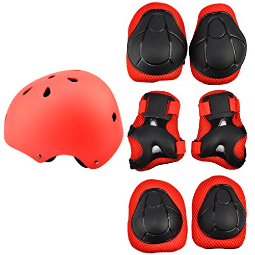 (7Pcs Kids Sports Safety Protective Gear Set, RuiyiF Elbow Pad Knee Support Wrist Guard and Helmet for Children Skateboard Skating Blading Cycling Riding - Red)