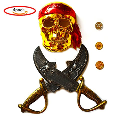 General Costume - for Priate Mask with Red Scarf , 2 Sword and 3 Coins Accessories The best christmas gifts For your (Coin Sword)