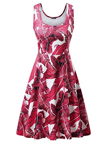 (FENSACE Ladies Dresses A Line Sleeveless Red Sundress for Women)