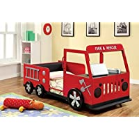 Rescuer fire truck style design twin size kids red and black with silver accents sturdy metal construction bed frame set by FOA