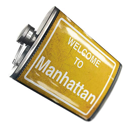 NEONBLOND Flask Yellow Road Sign Welcome To Manhattan Hip Flask PU Leather Stainless Steel Wrapped