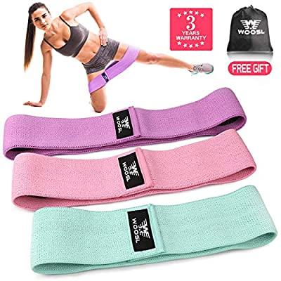 WOOSL Resistance Bands Loop Exercise Band for Legs and Butt, Hip Bands Resistance Band Booty Bands Workout Bands Fitness Sports Bands Wide Booty Band Anti Slip Elastic 3 Packs (3-Year Warranty) …