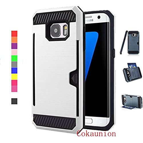 Cokaunion Card Slot Series Brushed Metal Texture Case for Samsung Galaxy S7 Edge (White) Sales