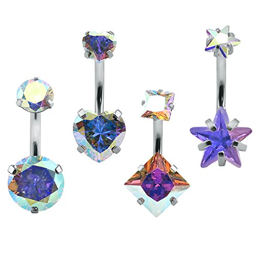 Star Gauge Ring 14 Belly (4Pcs Double Crystal Sexy Belly Ring Navel Piercing Jewelry 14g Surgical Steel Belly Button Rings Star Heart (AB Crystal))