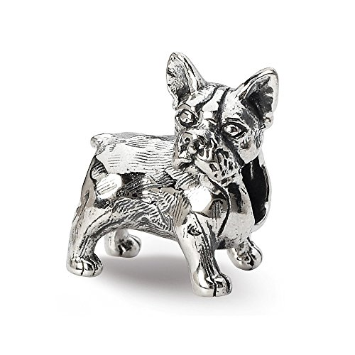 925 Sterling Silver Charm For Bracelet Boston Terrier Bead Animal Fine Jewelry Gifts For Women For Her ()